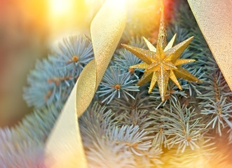 Golden Christmas star - Christmas decoration