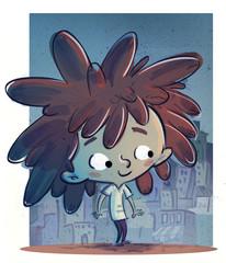 niña en la ciudad