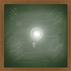 lightbulb on blackboard
