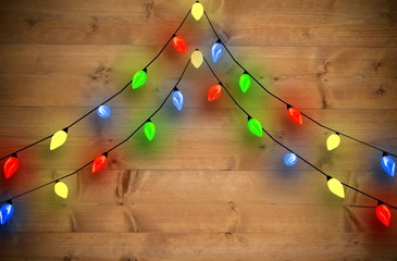 Composite image of decorative lights hanging in a shape