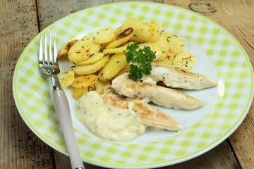 aiguillettes de poulet et pommes de terre