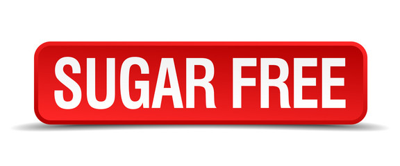 Sugar free red 3d square button isolated on white