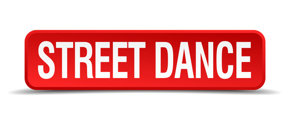 Street dance red 3d square button isolated on white