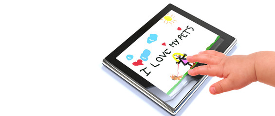 child hand touching digital tablet