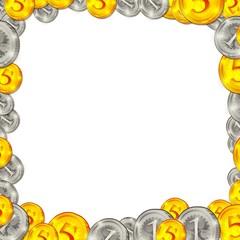 coins square background frame illustration
