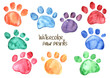 Set of watercolor animal footprints - 71687949