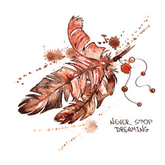 Watercolor illustration with bird feathers
