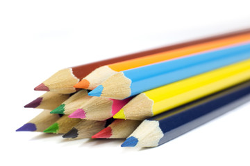 Macro Shot of Sharpened Colorful  Pencils Coming from Corner