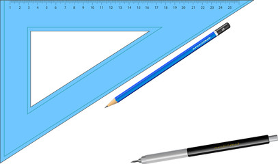 triangle ruler and pens