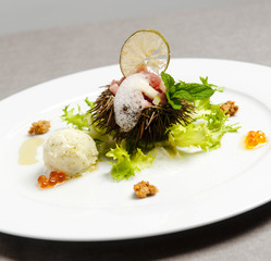 Sea urchin with lemon foam and green salad