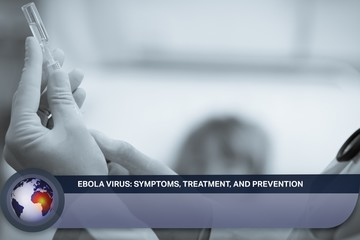 Ebola news flash with medical imagery