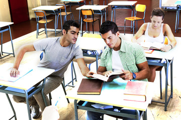 teenagers help in the review of lesson