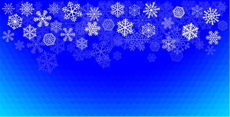 Snowflakes arranged on a blue cellular background