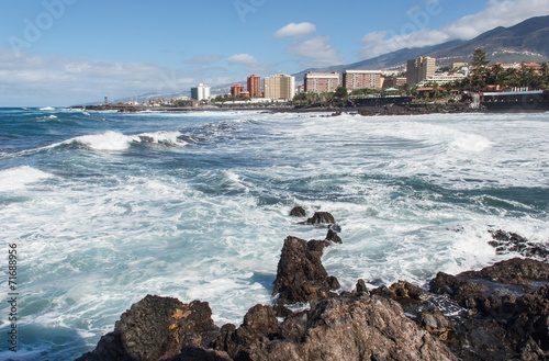 canvas print picture Playa Jardin, Puerto de la Cruz, Teneriffa, Spanien