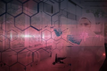 Chemist in protective suit working with futuristic interface