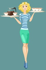 Girl Waitress Carrying a Tray With Cups Of Coffee And Tea,