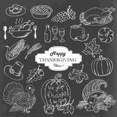 Sketch doodle Thanksgiving icon set on gray background