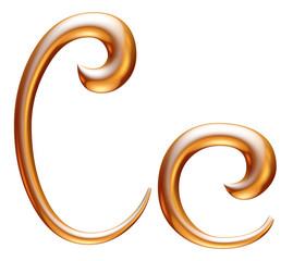 C Golden 3d alphabets render isolated on white
