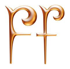 F Golden 3d alphabets render isolated on white