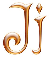 J Golden 3d alphabets render isolated on white