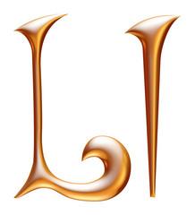L Golden 3d alphabets render isolated on white