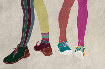 Feet in shoes,, disagreements, differences