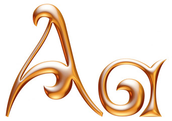 A Golden 3d alphabets render isolated on white