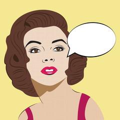 Pop Art Woman with Comic Speech Bubble