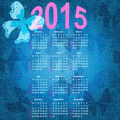 Blue calendar for 2015