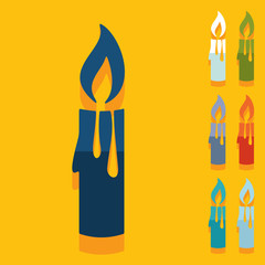 Flat design: christmas candle