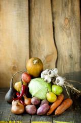 vegetables on wooden boards