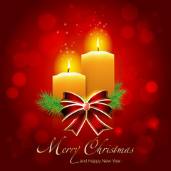Christmas card with candles on shiny background