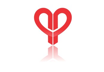 red heart love abstract vector logo