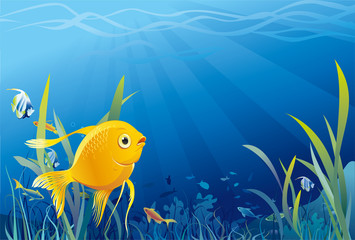 Gold fish in sea, underwater life, seaweeds. Vector