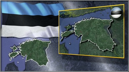 Estonia flag and map animation