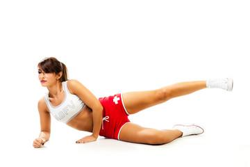 Female model gym workout