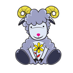 Zodiac Sign Goat  Cartoon Character