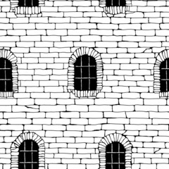 Seamless brick wall with windows, background (drawn in ink).
