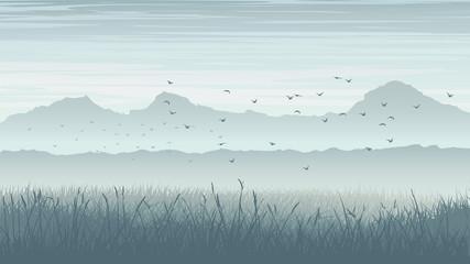 Horizontal illustration of misty landscape with birds in sky.