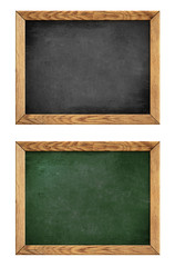 green and black school blackboard or chalkboard with wood frame