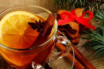 Christmas tee with anise, orange during christmas