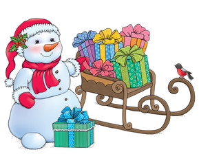 Snowman and sleigh with gifts