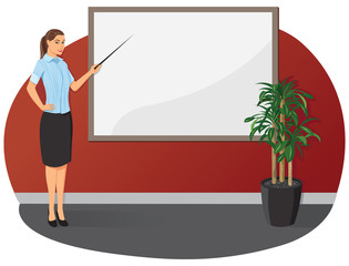 Business woman showing with a pointer to the blank board