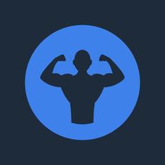 Bodybuilder Fitness Logo Icon. Vector