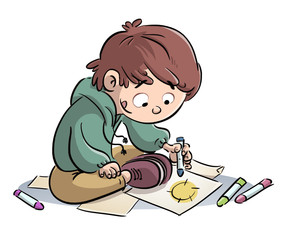 niño pintado con colores