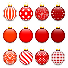 Christmas Balls Pattern Red/Gold