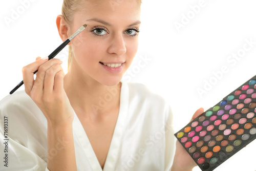 canvas print picture Mädchen schminkt sich