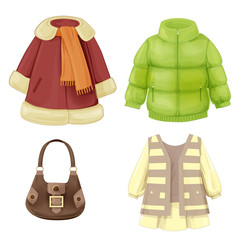set of seasonal clothes for girls. Coat, dress, padded parka and
