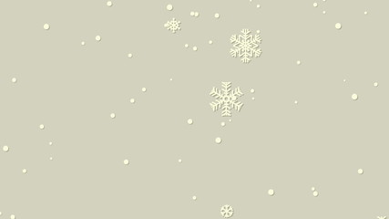 Paper snowflakes and snowballs animation on beige background