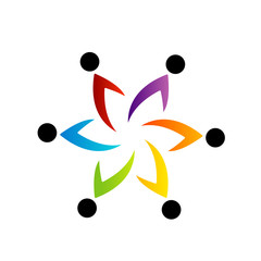 People together showing teamwork- business logo